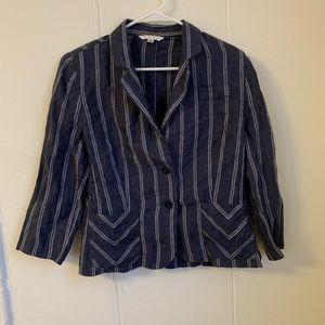 Cabi Dark Blue Linen Blazer Size 8
